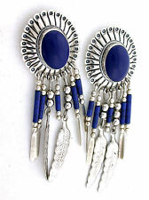 Southwest Concho Lapis Feather Dangle Earrings .925 Sterling Silver EBS2486