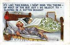 Comic Postcard Wife Takes All The Bed Clothes Man Objects To Sleeping In Draught