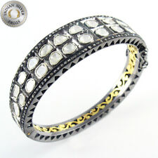 925 Sterling silver Natural Rose Cut Diamond Polki Cuff Bangle Pave Jewelry