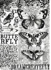 Papel De Arroz-Negro Mariposa-Para Decoupage, scrapbooking hoja, Craft
