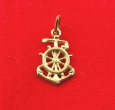NEW 9ct Yellow Gold Anchor Wheel Helm Charm Pendant Nautical Pendant Sea Ocean
