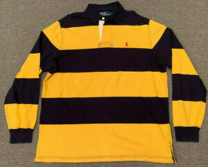 Vintage Polo Ralph Lauren Long Sleeve Rugby Shirt Sz L Pony Block Striped Yellow