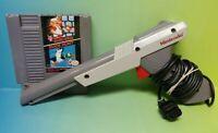 Nintendo NES Zapper Light Gun & Super Mario Bros Duck Hunt Game Working