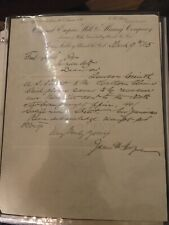 Antique Original Empire Mill And Mining Co Letter Grass Valley Ca James Hague