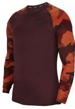 Men's NIKE PRO DRI FIT Long Sleeve Shirt BV5519 681 NWT Maroon Camo Size LARGE