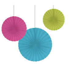 Glow Party Paper Fans [3pc] Neon Birthday Party Hanging Decorations