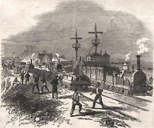 Railway blockade at Clifton Station, near Manchester, antique print, 1849