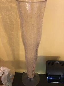 """Zodax Tall Modern Crackle Glass Flower Vase Bright Pink with Clear Foot 14.25"""""""