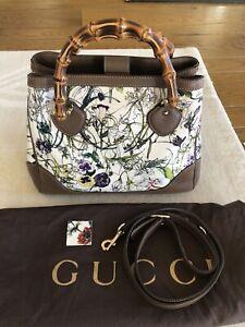 GUCCI Floral Bamboo Diana Flora Bag Handbag With Shoulder Straps Brown Canvas