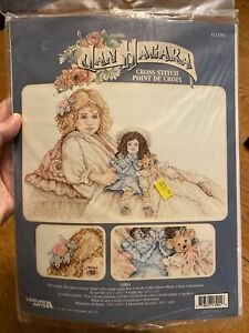 "Leisure Arts Cross Stitch Kit # 113901 Jan Hagara ""Larka"" Girl w/ Doll & Bear"