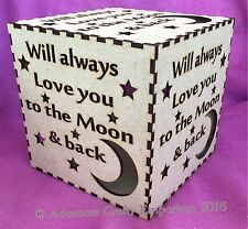 Love You To Moon And Back Mdf Wood night Light Box Cube 15cm/150mm Wooden Craft