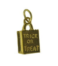 Solid Real 10K Gold New Halloween spooky Trick or Treat Candy bag charm Jewelry