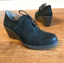 Ecco Womens Black Leather Wedge Heel Booties Lace Up Ankle Boot Sz 40 / 9.5-10