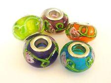 5 perles lampwork façon murano 14 mm en mélange