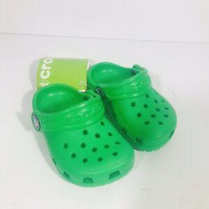 Crocs Kids Classic Clog Grass Green 204536-3E8 Comfort Roomy Fit Water Size 4