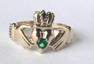 Heavy 14k Gold Mens Emerald Green Irish Claddagh Ring Friendship Wedding 7g Sz11