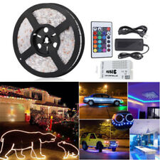 5M SMD 5050RGB Strip Lights Nonwaterproof + Sound Sensor Controller24key + Power