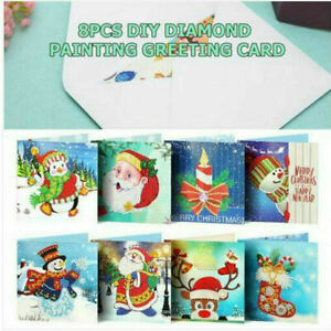 8 X 5D Christmas Greeting Cards Drill Diamond Painting Embroidery DIY Xmas Gift