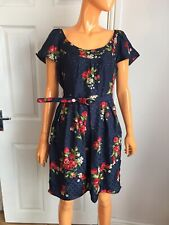 Juicy Couture Navy Red Floral Belted 100% Silk Skater Dress RRP£240 UK12 US8 NWT