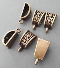 5pcs--filigree brass bails,flat bottom bail pendant connector, necklace finding