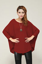 Stylish Womens Loose Batwing Crew Neck Quality Knitted Top / Jumper Size 8 - 26 Russet Red XXL Fit UK 24-26