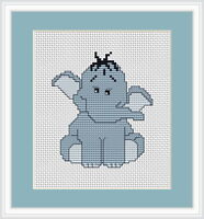 Blue Elephant Counted Cross Stitch Kit Beginner