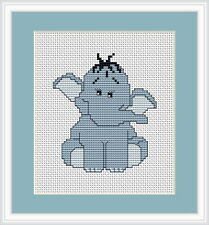 Blue Elephant Cross Stitch Kit By Luca S Ideal Beginner 8 x 10cm