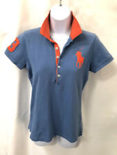 Ralph Lauren Sport Blue Polo Shirt with large Polo embroidered logo M