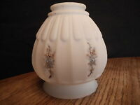 Shade for fixture Antique Painted Flowers White Milk Glass Lamp Fixture