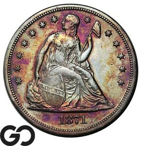 1871 Seated Liberty Dollar, Choice AU++ Details, Popular Silver $ Series!