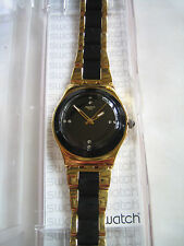SWATCH YELLOW PEARL BLACK GOLD WATCH ylg124g IRONY NUOVO con etichetta