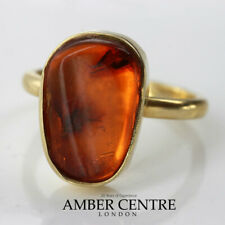 German Baltic Amber 14ct Gold Ring Containing Long legged Fly GRR014 RRP900!!!