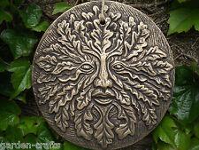 Colourful Terracotta Garden Green man Plaque, 20cm dia.  Garden Decor, FREE POST