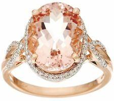 14K ROSE GOLD 5.00 CT OVAL MORGANITE AND DIAMOND RING SIZE 9 QVC $1,404.00