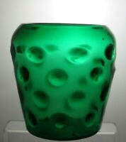 """Large Vintage Green Glass Vase With dot  - 8 1/4""""( 21 cm) Tall"""