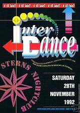 IN-TER-DANCE Rave Flyer Flyers 28/11/92 A5 Sterns Worthing