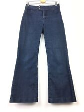 NYDJ Women Stretch Jeans Pants Size 8 Dark Blue Lift Tuck Wide Leg Stretchy