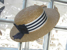 LAURA ASHLEY VINTAGE REGATTA STRIPED RIBBON & BOW STRAW BOATER HAT, ONE SIZE