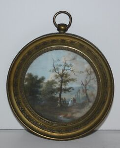 Original Antique 19th Century Miniature Gouache-Couple and Pastoral Landscape