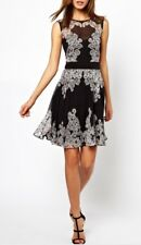 Karen Millen dress 100% Silk Skater Fit Flare White Black UK 12