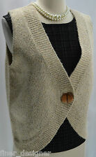 FDJ FRENCH DRESSING tweed Shaggy wool top button up Vest Sweater V neck Size L