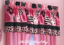 "Girls SAFARI JUNGLE HEARTS PINK Black White ZEBRA PRINT Window VALANCE 16""x 84"""