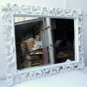 Mirror Baroque Wooden Inlaid CMS 120x90 White Antiqued Model Tommy