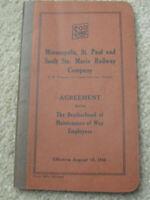 Vintage 1940 Booklet Soo Line M St P Saulte Marie RR Co Brotherhood MOW Employee