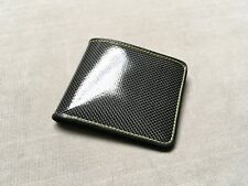 Gloss Real Carbon Fiber Leather Wallet YELLOW Stitches ID card holder E90 F10 x5
