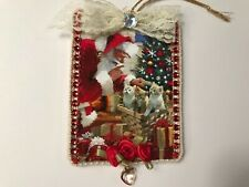 Santa Clause Christmas ornament, handcrafted on wood, Santa suit, item #42