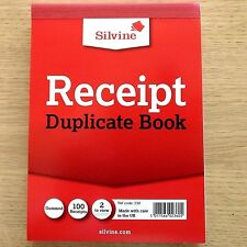 NEW - DUPLICATE CASH RECEIPT BOOK - Silvine Office Invoice Accounts Carbon Paper