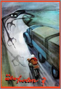 Uberholen Overtake Road Safety Death Reaper Motorcycle Motorbike Poster Print