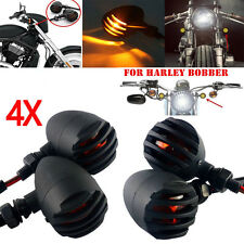 Motorcycle Black Grill Bullet Blinker Turn Signal Light F Bobber Chopper Cruiser