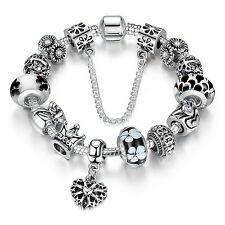 Wostu 925 silver European Charms Bracelet With Murano Beads For Christmas day